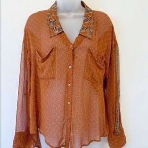 Free people sheer hi low button front S
